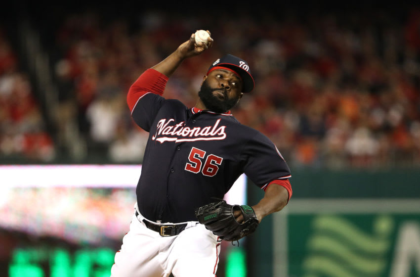 WASHINGTON, DC - OCTOBER 26: Fernando Rodney #56 of the Washington Nationals delivers the pitch against the Houston Astros during the seventh inning in Game Four of the 2019 World Series at Nationals Park on October 26, 2019 in Washington, DC. (Photo by Patrick Smith/Getty Images)