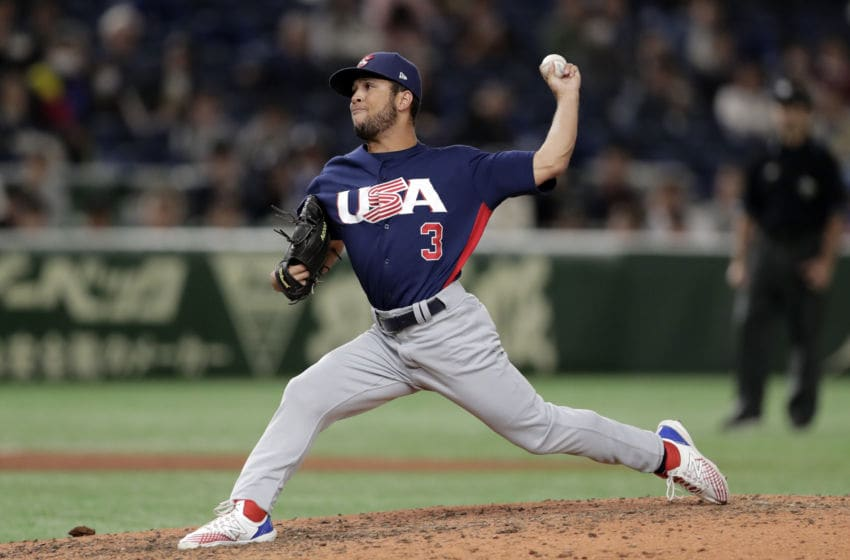 TOKYO, JAPAN - NOVEMBER 17: Pitcher Clayton Andrews #3 throws in the bottom of 7th inning during the WBSC Premier 12 Bronze Medal final game between Mexico and USA at the Tokyo Dome on November 17, 2019 in Tokyo, Japan. (Photo by Kiyoshi Ota/Getty Images)