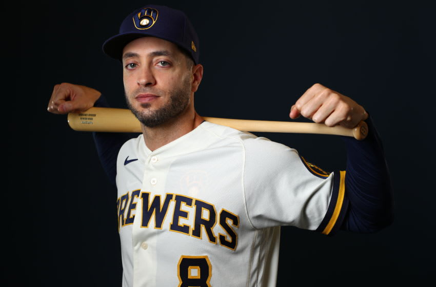PHOENIX, AZ - FEBRUARY 19: Ryan Braun #8 of the Milwaukee Brewers poses during the Milwaukee Brewers Photo Day on February 19, 2020 in Phoenix, Arizona. (Photo by Jamie Schwaberow/Getty Images)