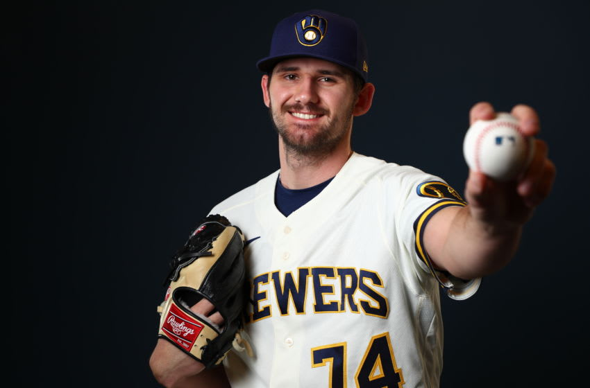 PHOENIX, AZ - FEBRUARY 19: Ethan Small #74 of the Milwaukee Brewers poses during the Milwaukee Brewers Photo Day on February 19, 2020 in Phoenix, Arizona. (Photo by Jamie Schwaberow/Getty Images)