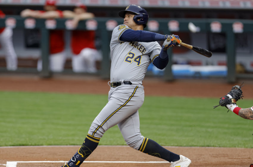 CINCINNATI, OH - SEPTEMBER 23: Avisail Garcia #24 of the Milwaukee Brewers bats during the game against the Cincinnati Reds at Great American Ball Park on September 23, 2020 in Cincinnati, Ohio. (Photo by Michael Hickey/Getty Images)