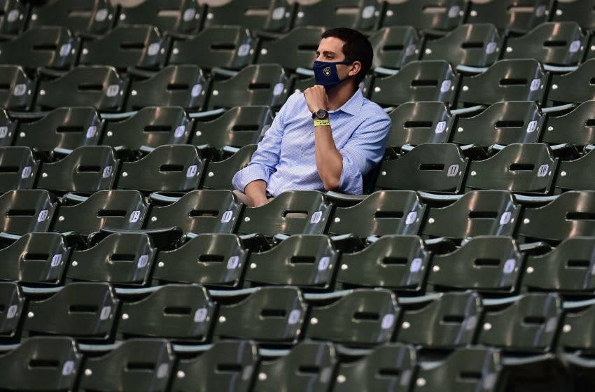MILWAUKEE, WISCONSIN - JULY 15: General manager David Stearns of the Milwaukee Brewers watches action during Summer Workouts at Miller Park on July 15, 2020 in Milwaukee, Wisconsin. (Photo by Stacy Revere/Getty Images)