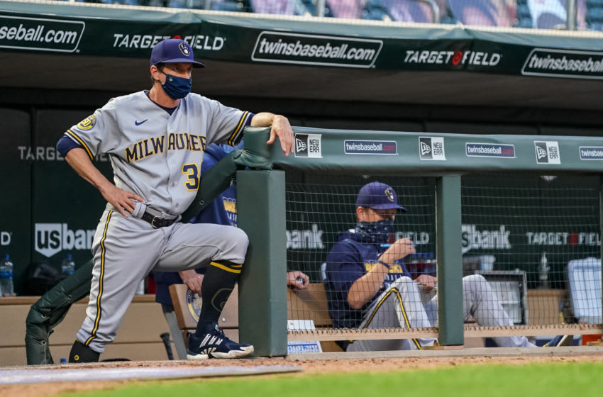 MINNEAPOLIS, MN - AUGUST 20: Manager Craig Counsell #30 of the Milwaukee Brewers looks on against the Minnesota Twins on August 20, 2020 at Target Field in Minneapolis, Minnesota. (Photo by Brace Hemmelgarn/Minnesota Twins/Getty Images)
