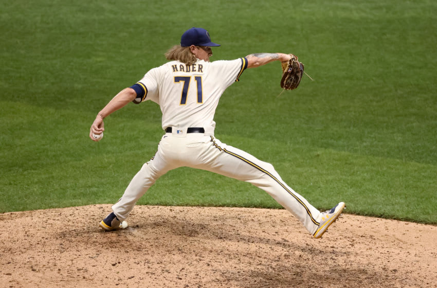 MILWAUKEE, WISCONSIN - AUGUST 31: Josh Hader #71 of the Milwaukee Brewers pitches in the ninth inning against the Pittsburgh Pirates at Miller Park on August 31, 2020 in Milwaukee, Wisconsin. (Photo by Dylan Buell/Getty Images)