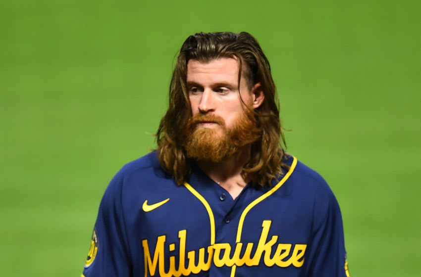PITTSBURGH, PA - AUGUST 21: Ben Gamel #16 of the Milwaukee Brewers looks on during the game against the Pittsburgh Pirates at PNC Park on August 21, 2020 in Pittsburgh, Pennsylvania. (Photo by Joe Sargent/Getty Images)