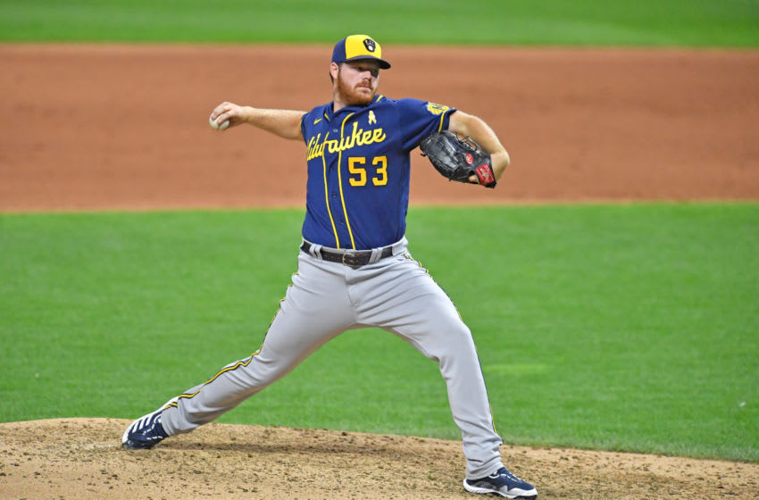 CLEVELAND, OHIO - SEPTEMBER 05: Starting pitcher Brandon Woodruff #53 of the Milwaukee Brewers pitches during the fifth inning against the Cleveland Indians at Progressive Field on September 05, 2020 in Cleveland, Ohio. (Photo by Jason Miller/Getty Images)