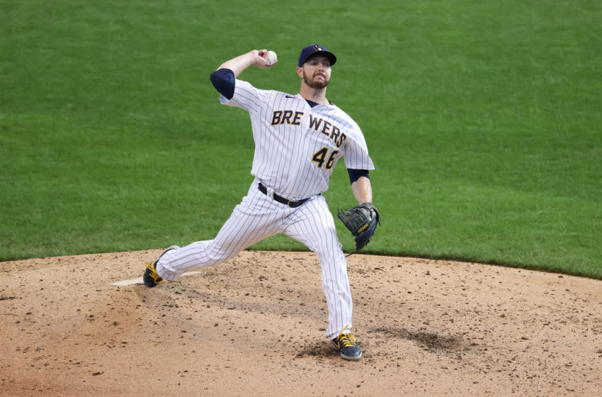 MILWAUKEE, WISCONSIN - SEPTEMBER 13: Corey Knebel #46 of the Milwaukee Brewers pitches in the seventh inning against the Chicago Cubs at Miller Park on September 13, 2020 in Milwaukee, Wisconsin. (Photo by Dylan Buell/Getty Images)