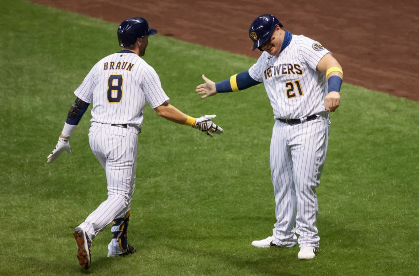 Ryan Braun and Daniel Vogelbach, Milwaukee Brewers (Photo by Dylan Buell/Getty Images)