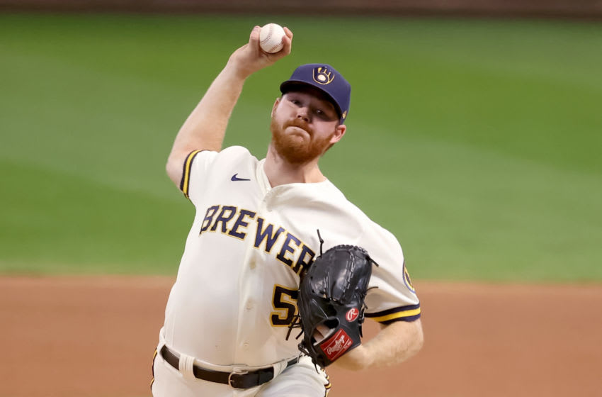 MILWAUKEE, WISCONSIN - SEPTEMBER 16: Brandon Woodruff #53 of the Milwaukee Brewers pitches in the first inning against the St. Louis Cardinals during game one of a doubleheader at Miller Park on September 16, 2020 in Milwaukee, Wisconsin. (Photo by Dylan Buell/Getty Images)