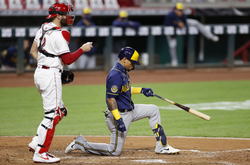 CINCINNATI, OH - SEPTEMBER 21: Orlando Arcia #3 of the Milwaukee Brewers reacts after striking out in the seventh inning against the Cincinnati Reds at Great American Ball Park on September 21, 2020 in Cincinnati, Ohio. The Reds won 6-3. (Photo by Joe Robbins/Getty Images)