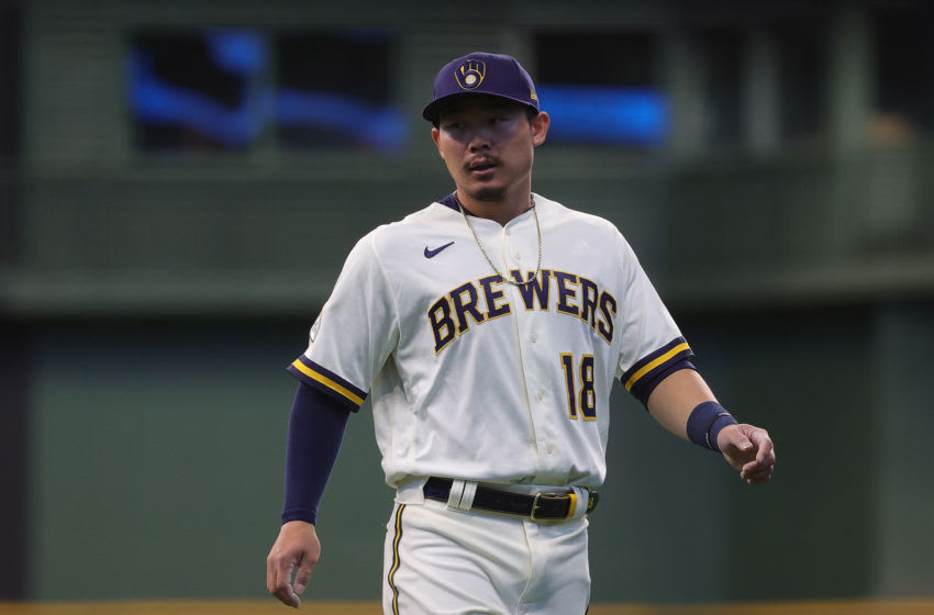 MILWAUKEE, WISCONSIN - APRIL 01: Keston Hiura #18 of the Milwaukee Brewers participates in warmups prior to a game against the Minnesota Twins on Opening Day at American Family Field on April 01, 2021 in Milwaukee, Wisconsin. The Brewers defeated the Twins 6-5. (Photo by Stacy Revere/Getty Images)