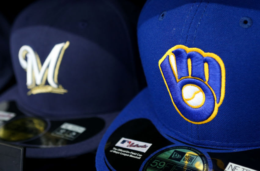 MILWAUKEE, WI - APRIL 24: Baseball hats with the current logo, left, and retro logo sit on display at Miller Park on April 24, 2016 in Milwaukee, Wisconsin. (Photo by Dylan Buell/Getty Images) *** Local Caption ***