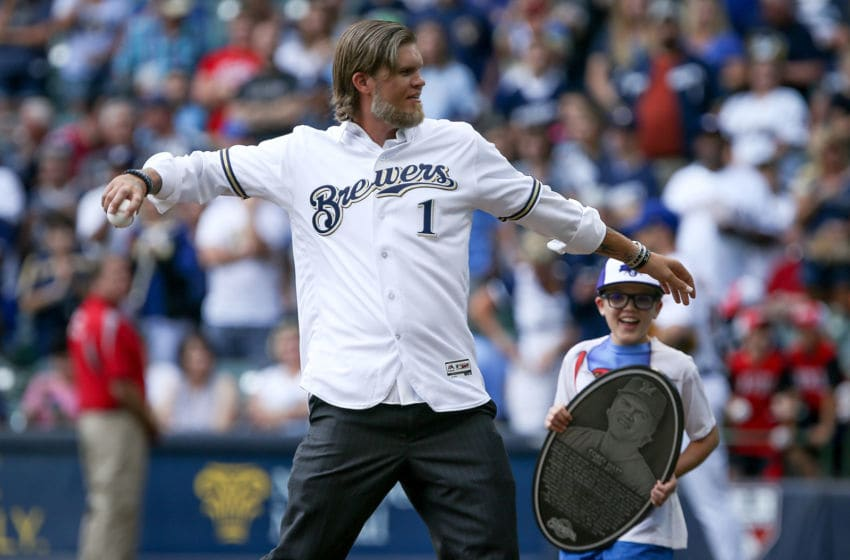 MILWAUKEE, WI - JUNE 30: Former Milwaukee Brewers Corey Hart throws the ceremonial first pitch before the game against the Miami Marlins at Miller Park on June 30, 2017 in Milwaukee, Wisconsin. (Photo by Dylan Buell/Getty Images)