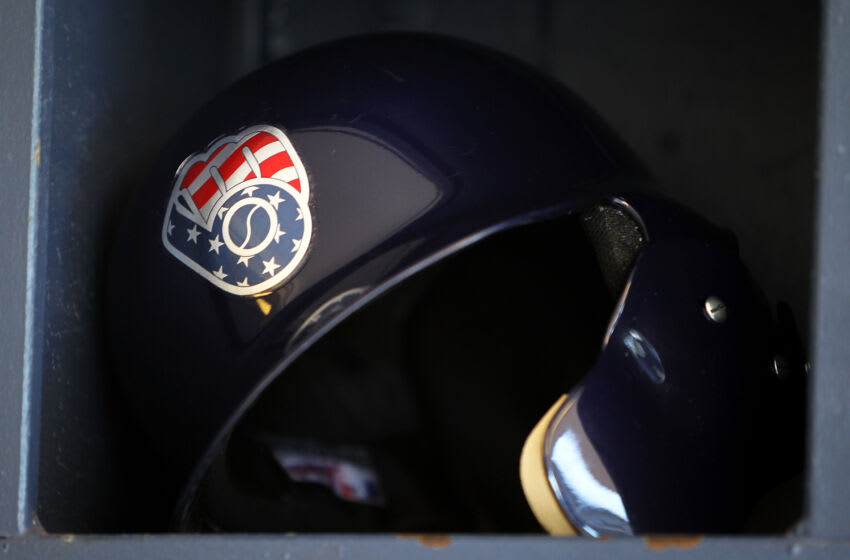MILWAUKEE, WI - JULY 03: A detail view of the Independence Day Milwaukee Brewers batting helmet logo before the game against the Baltimore Orioles at Miller Park on July 03, 2017 in Milwaukee, Wisconsin. (Photo by Dylan Buell/Getty Images) *** Local Caption ***