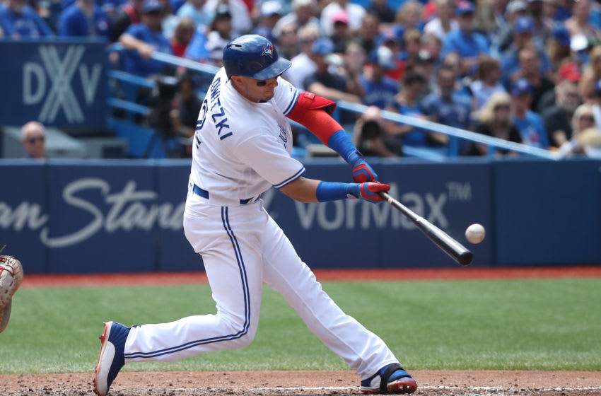 TORONTO, ON - JULY 27: Troy Tulowitzki #2 of the Toronto Blue Jays hits a double in the seventh inning against the Oakland Athletics during MLB game action at Rogers Centre on July 27, 2017 in Toronto, Canada. (Photo by Tom Szczerbowski/Getty Images)