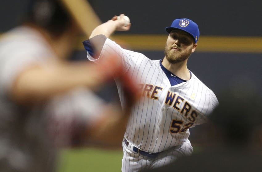 MILWAUKEE, WI - SEPTEMBER 01: Jimmy Nelson #52 of the Milwaukee Brewers pitches during the fourth inning against the Washington Nationals at Miller Park on September 01, 2017 in Milwaukee, WI. (Photo by Mike McGinnis/Getty Images)
