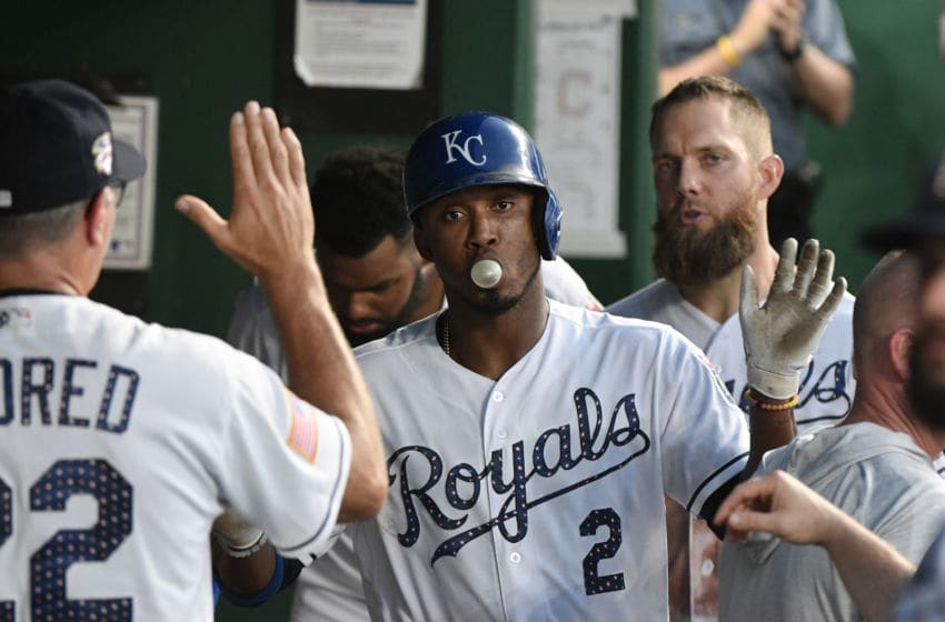 KANSAS CITY, MO - JULY 4: Alcides Escobar #2 of the Kansas City Royals celebrates with teammates after scoring on a sacrifice fly off the bat of Whit Merrifield against the Cleveland Indians in the fifth inning at Kauffman Stadium on July 4, 2018 in Kansas City, Missouri. (Photo by Ed Zurga/Getty Images)