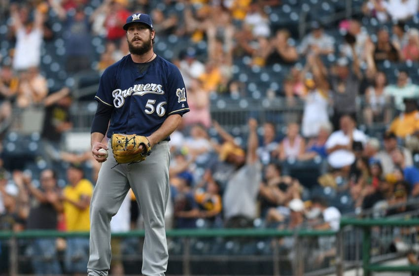 PITTSBURGH, PA - JULY 14: Aaron Wilkerson #56 of the Milwaukee Brewers reacts after giving up a home run to Jordan Luplow #47 of the Pittsburgh Pirates (not pictured) in the eighth inning during the game on July 14, 2018 in Pittsburgh, Pennsylvania. (Photo by Justin Berl/Getty Images)
