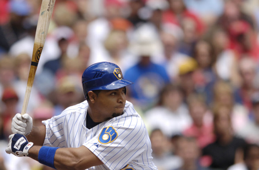 Carlos Lee during the game between the St. Louis Cardinals and the Milwaukee Brewers at Miller Park on Sunday, June 11, 2006 in Milwaukee, WI. The Brewers lost to the Cardinals, 7-5. (Photo by S. Levin/Getty Images)