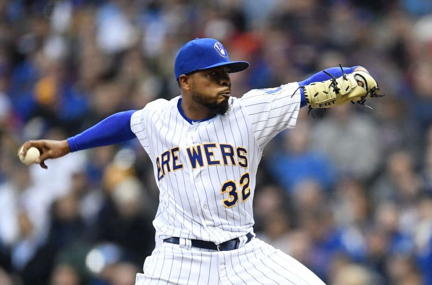 MILWAUKEE, WI - APRIL 06: Jeremy Jeffress #32 of the Milwaukee Brewers throws a pitch during the sixth inning against the Chicago Cubs at Miller Park on April 6, 2018 in Milwaukee, Wisconsin. (Photo by Stacy Revere/Getty Images)