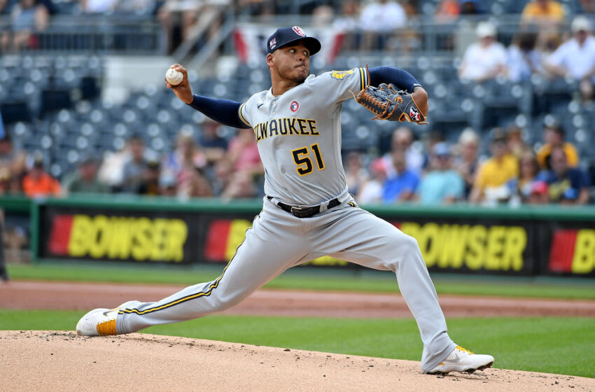 PITTSBURGH, PA - JULY 04: Freddy Peralta #51 of the Milwaukee Brewers delivers a pitch in the first inning during the game against the Pittsburgh Pirates at PNC Park on July 4, 2021 in Pittsburgh, Pennsylvania. (Photo by Justin Berl/Getty Images)