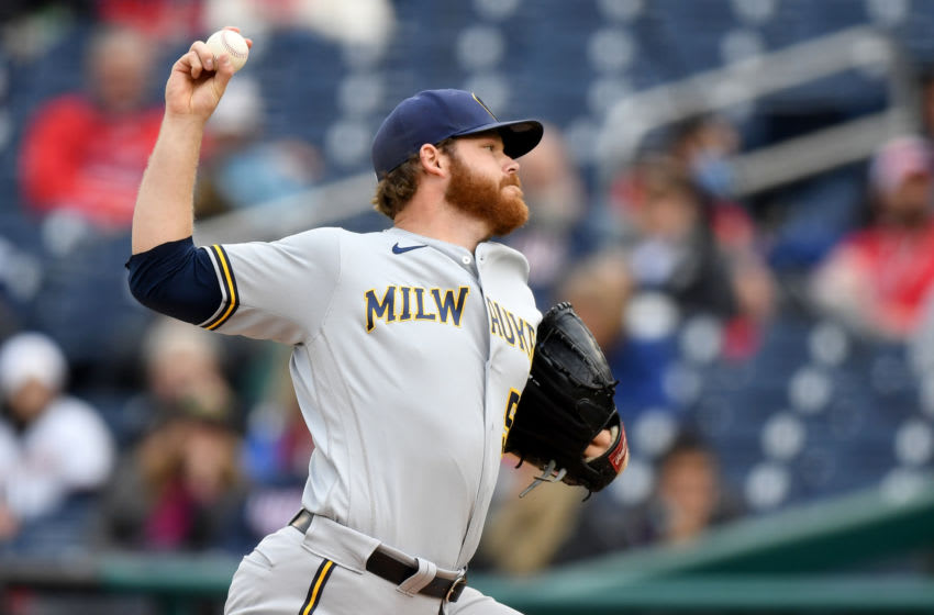 WASHINGTON, DC - MAY 30: Brandon Woodruff #53 of the Milwaukee Brewers pitches against the Washington Nationals during the fifth inning at Nationals Park on May 30, 2021 in Washington, DC. (Photo by Will Newton/Getty Images)