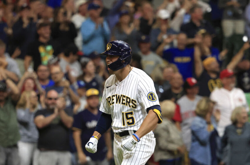 MILWAUKEE, WISCONSIN - JULY 10: Tyrone Taylor #15 of the Milwaukee Brewers celebrates after hitting a two run home run during the eighth inning against the Cincinnati Reds at American Family Field on July 10, 2021 in Milwaukee, Wisconsin. (Photo by Justin Casterline/Getty Images)