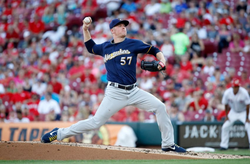 CINCINNATI, OH - JUNE 29: Chase Anderson #57 of the Milwaukee Brewers throws a pitch against the Cincinnati Reds at Great American Ball Park on June 29, 2018 in Cincinnati, Ohio. (Photo by Andy Lyons/Getty Images)