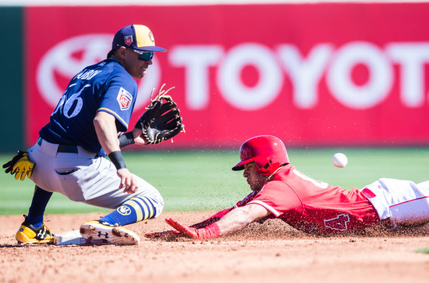 TEMPE, AZ - FEBRUARY 24: Michael Hermosillo #84 of the Los Angeles Angels steals second base as Mauricio Dubon of the Milwaukee Brewers awaits for the ball during a Spring Training Game at Goodyear Ballpark on February 24, 2018 in Goodyear, Arizona. (Photo by Rob Tringali/Getty Images)