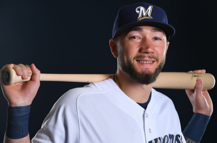 MARYVALE, AZ - FEBRUARY 22: Lucas Erceg #77 of the Milwaukee Brewers poses during the Brewers Photo Day on February 22, 2019 in Maryvale, Arizona. (Photo by Jamie Schwaberow/Getty Images)