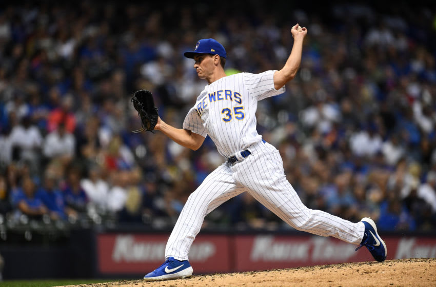 MILWAUKEE, WISCONSIN - SEPTEMBER 06: Brent Suter #35 of the Milwaukee Brewers throws a pitch during the sixth inning against the Chicago Cubs at Miller Park on September 06, 2019 in Milwaukee, Wisconsin. (Photo by Stacy Revere/Getty Images)