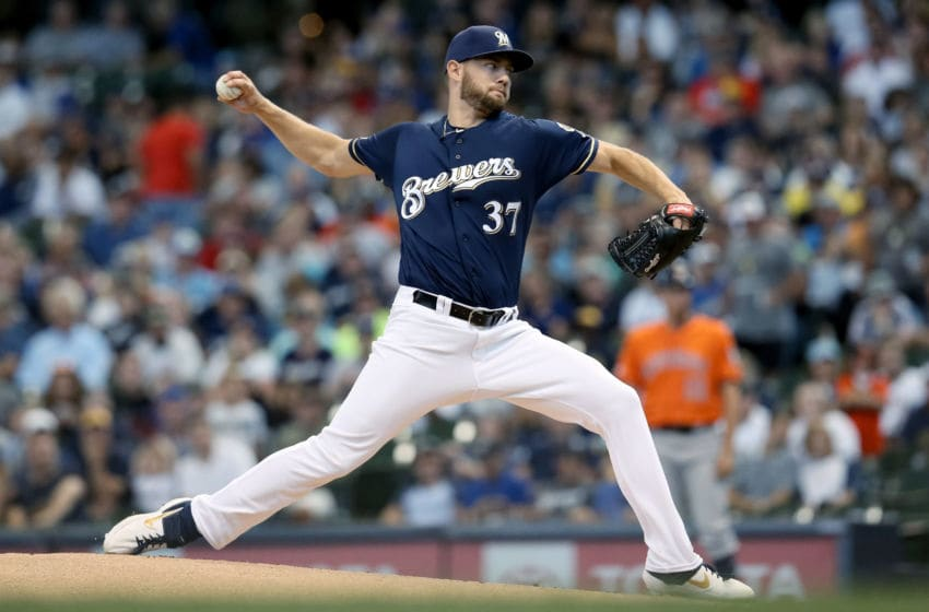 MILWAUKEE, WISCONSIN - SEPTEMBER 02: Adrian Houser #37 of the Milwaukee Brewers pitches in the first inning against the Houston Astros at Miller Park on September 02, 2019 in Milwaukee, Wisconsin. (Photo by Dylan Buell/Getty Images)