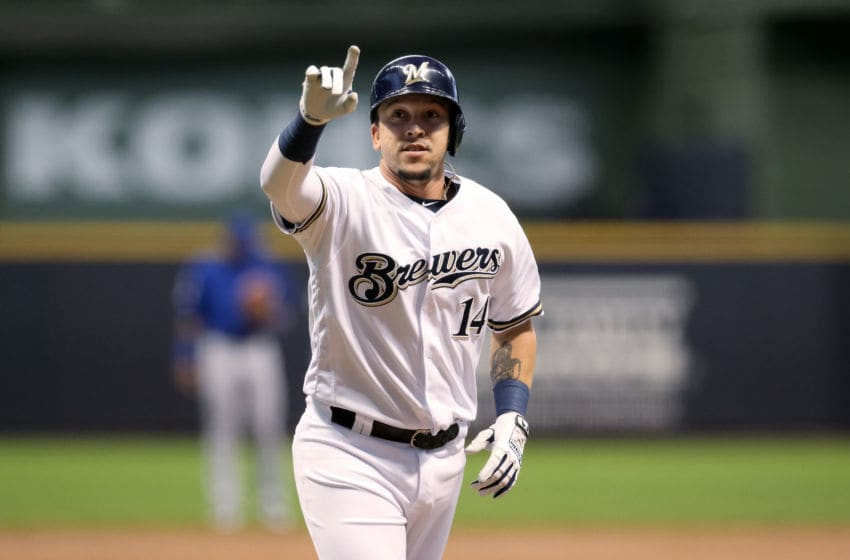 MILWAUKEE, WISCONSIN - SEPTEMBER 05: Hernan Perez #14 of the Milwaukee Brewers rounds the bases after hitting a home run in the second inning against the Chicago Cubs at Miller Park on September 05, 2019 in Milwaukee, Wisconsin. (Photo by Dylan Buell/Getty Images)