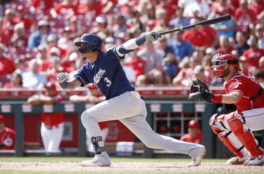 CINCINNATI, OH - SEPTEMBER 26: Orlando Arcia #3 of the Milwaukee Brewers hits a double to drive in three runs in the fourth inning against the Cincinnati Reds at Great American Ball Park on September 26, 2019 in Cincinnati, Ohio. (Photo by Joe Robbins/Getty Images)