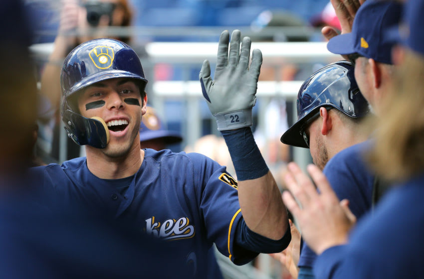 PHILADELPHIA, PA - MAY 16: Christian Yelich #22 of the Milwaukee Brewers is congratulated after he hit a home run during the first inning of a game against the Philadelphia Phillies at Citizens Bank Park on May 16, 2019 in Philadelphia, Pennsylvania. (Photo by Rich Schultz/Getty Images)