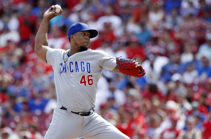CINCINNATI, OH - AUGUST 11: Pedro Strop #46 of the Chicago Cubs pitches in the ninth inning against the Cincinnati Reds at Great American Ball Park on August 11, 2019 in Cincinnati, Ohio. The Cubs defeated the Reds 6-3. (Photo by Joe Robbins/Getty Images)