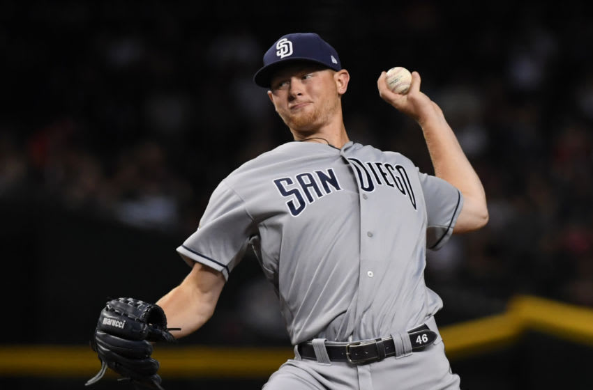 PHOENIX, ARIZONA - SEPTEMBER 27: Eric Lauer #46 of the San Diego Padres delivers a first inning pitch against the Arizona Diamondbacks at Chase Field on September 27, 2019 in Phoenix, Arizona. (Photo by Norm Hall/Getty Images)