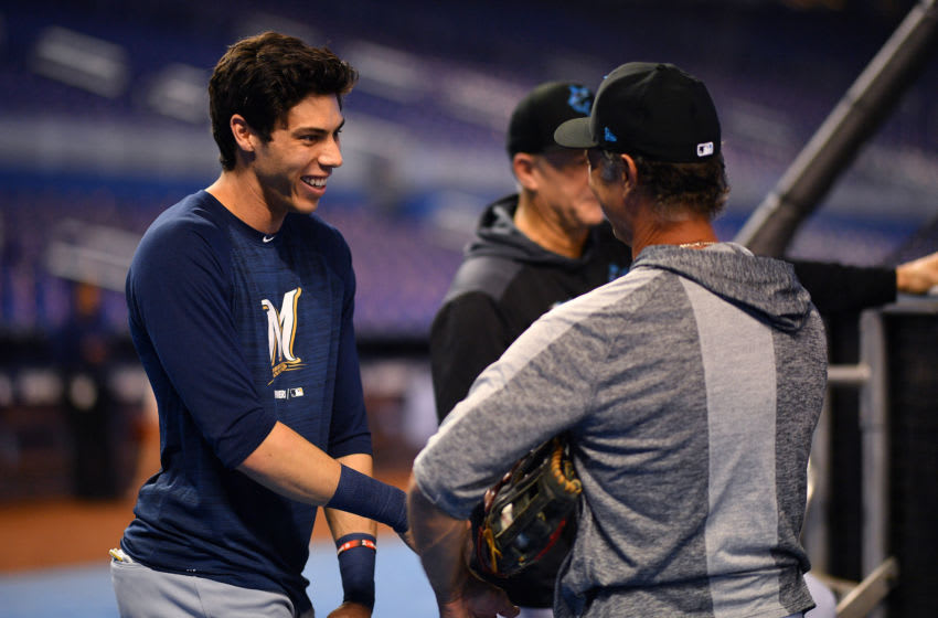 MIAMI, FLORIDA - SEPTEMBER 09: Christian Yelich #22 of the Milwaukee Brewers and Don Mattingly #8 of the Miami Marlins speak during batting practice before the game between the Miami Marlins and the Milwaukee Brewers at Marlins Park on September 09, 2019 in Miami, Florida. (Photo by Mark Brown/Getty Images)