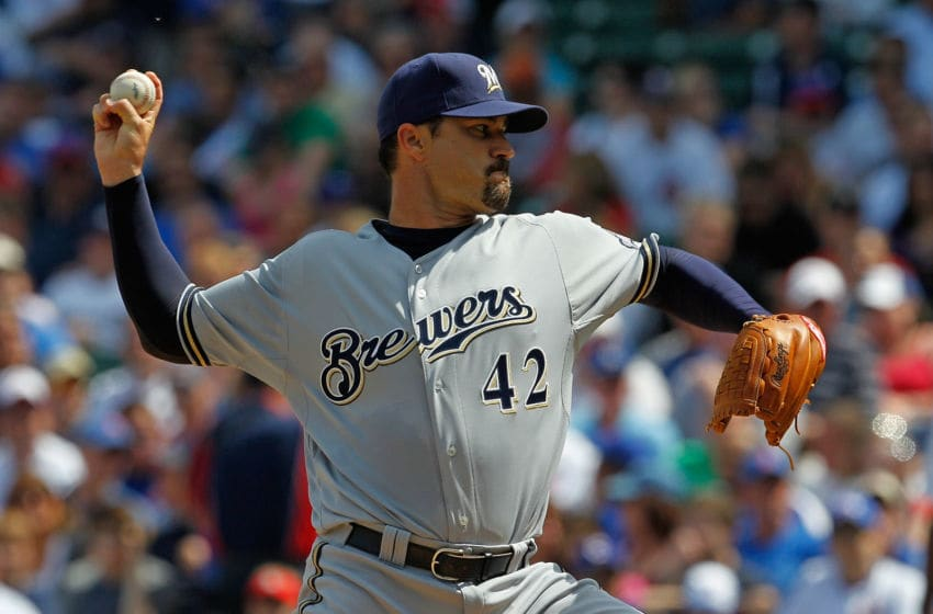 CHICAGO - APRIL 15: Starting pitcher Jeff Suppan of the Milwaukee Brewers, wearing a number 42 jersey in honor of Jackie Robinson, delivers the ball against the Chicago Cubs at Wrigley Field on April 15, 2010 in Chicago, Illinois. (Photo by Jonathan Daniel/Getty Images)