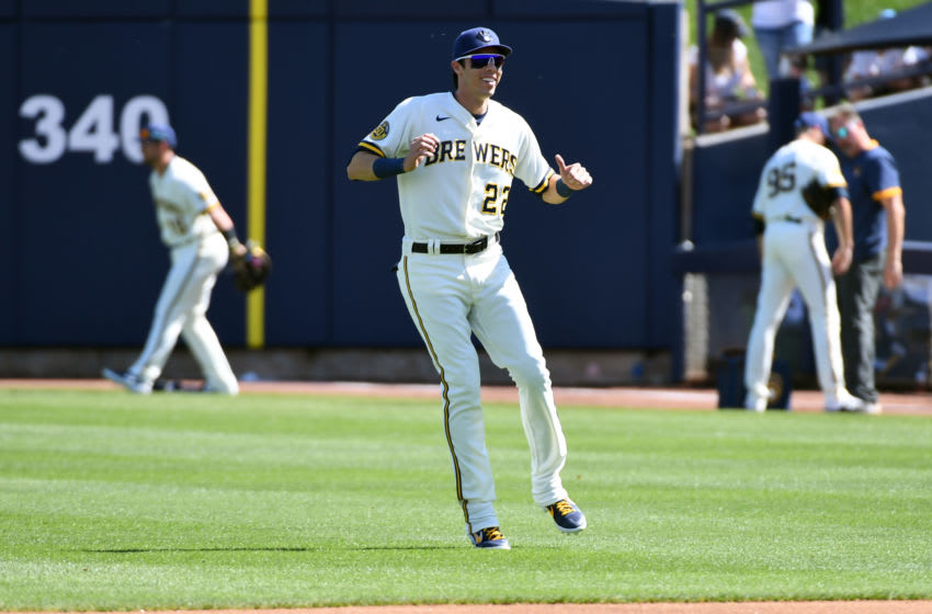 MARYVALE, ARIZONA - MARCH 06: Christian Yelich #22 of the Milwaukee Brewers prepares for a spring training game against the San Francisco Giants at American Family Fields of Phoenix on March 06, 2020 in Maryvale, Arizona. (Photo by Norm Hall/Getty Images)