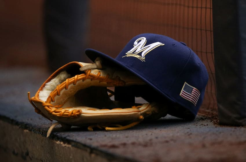 MILWAUKEE, WI - SEPTEMBER 11: A detail view of a Milwaukee Brewers hat featuring an American flag before the game against the Pittsburgh Pirates at Miller Park on September 11, 2017 in Milwaukee, Wisconsin. (Photo by Dylan Buell/Getty Images) *** Local Caption ***