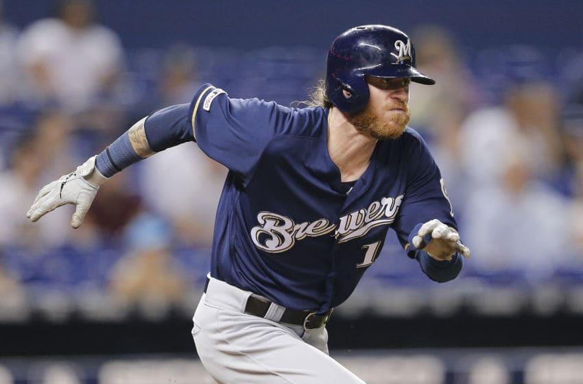 MIAMI, FLORIDA - SEPTEMBER 11: Ben Gamel #16 of the Milwaukee Brewers in action against the Miami Marlins at Marlins Park on September 11, 2019 in Miami, Florida. (Photo by Michael Reaves/Getty Images)