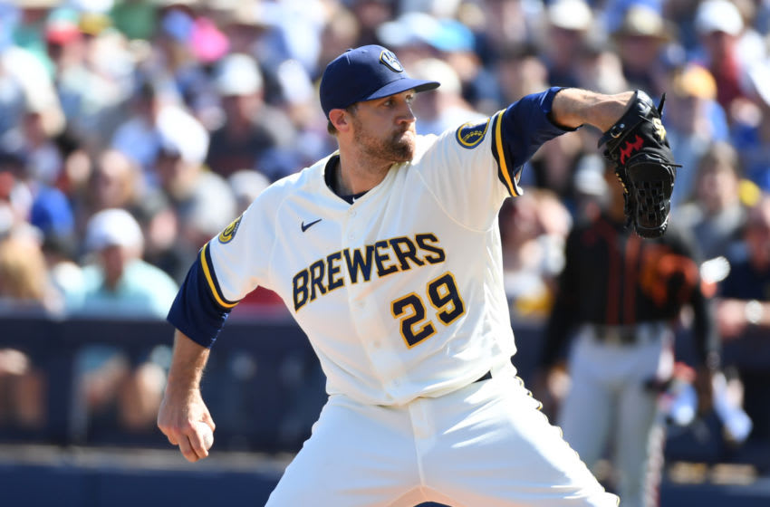 MARYVALE, ARIZONA - MARCH 06: Josh Lindblom #29 of the Milwaukee Brewers delivers a pitch against the San Francisco Giants during a spring training game at American Family Fields of Phoenix on March 06, 2020 in Maryvale, Arizona. (Photo by Norm Hall/Getty Images)