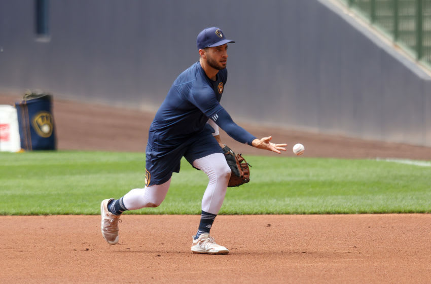 MILWAUKEE, WISCONSIN - JULY 05: Ryan Braun #8 of the Milwaukee Brewers participates in a drill during Summer Workouts at Miller Park on July 05, 2020 in Milwaukee, Wisconsin. (Photo by Dylan Buell/Getty Images)