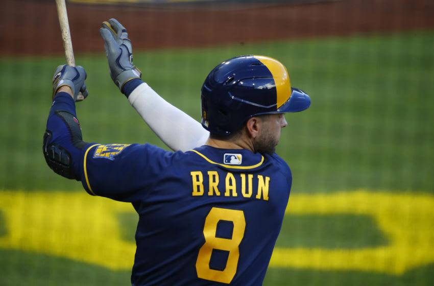 PITTSBURGH, PA - JULY 27: Ryan Braun #8 of the Milwaukee Brewers in action against the Pittsburgh Pirates during Opening Day at PNC Park on July 27, 2020 in Pittsburgh, Pennsylvania. The 2020 season had been postponed since March due to the COVID-19 pandemic (Photo by Justin K. Aller/Getty Images)