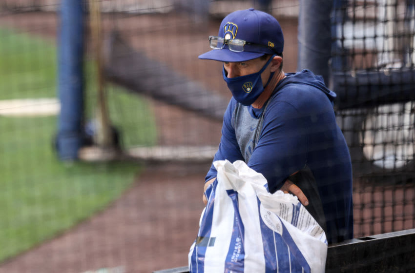 MILWAUKEE, WISCONSIN - JULY 04: Manager Craig Counsell of the Milwaukee Brewers looks on during Summer Workouts at Miller Park on July 04, 2020 in Milwaukee, Wisconsin. (Photo by Dylan Buell/Getty Images)