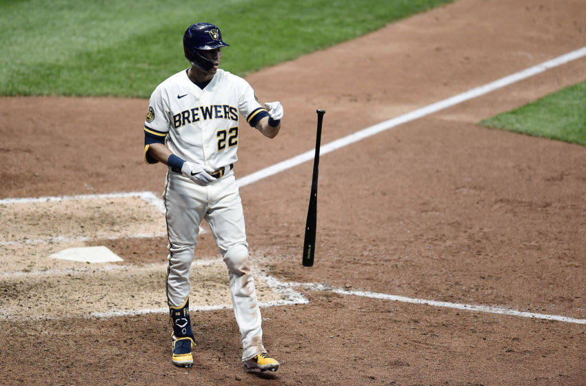 MILWAUKEE, WISCONSIN - AUGUST 04: Christian Yelich #22 of the Milwaukee Brewers reacts to a strike out during the eighth inning against the Chicago White Sox at Miller Park on August 04, 2020 in Milwaukee, Wisconsin. (Photo by Stacy Revere/Getty Images)