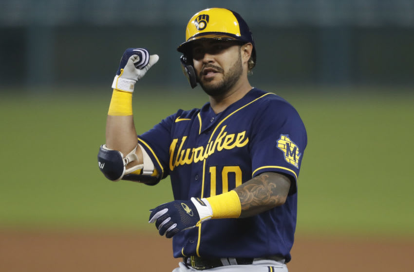 Omar Narvaez, Milwaukee Brewers Mandatory Credit: Raj Mehta-USA TODAY Sports