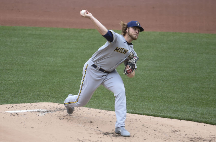 Apr 8, 2021; St. Louis, Missouri, USA; Milwaukee Brewers starting pitcher Corbin Burnes (39) pitches against the St. Louis Cardinals in the first inning at Busch Stadium. Mandatory Credit: Joe Puetz-USA TODAY Sports