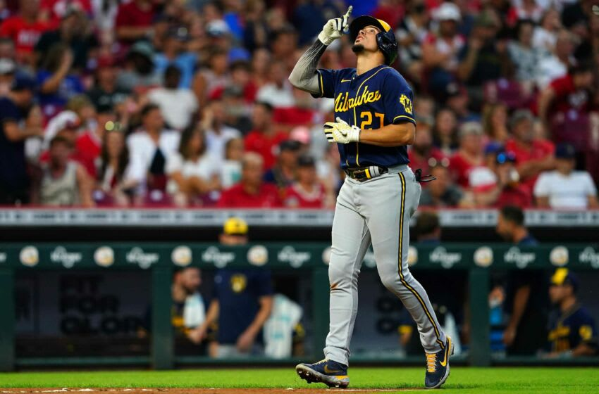 Milwaukee Brewers shortstop Willy Adames (27) gestures after hitting a two-run home run during the fifth inning of a baseball game against the Cincinnati Reds, Friday, July 16, 2021, at Great American Ball Park in Cincinnati. The Milwaukee Brewers won, 11-6. Milwaukee Brewers At Cincinnati Reds July 16